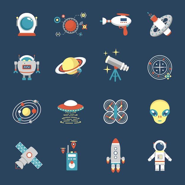 Conjunto de ícones de ficção Vetor grátis