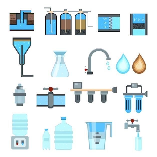 Conjunto de ícones de filtragem de água Vetor grátis