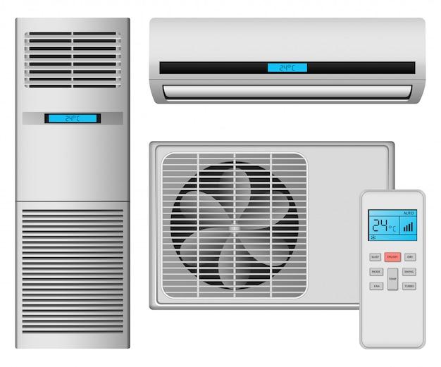 Conjunto de ícones de filtro de ar de condicionador Vetor Premium