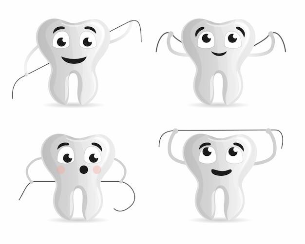 1f52a68e5 Conjunto de ícones de fio dental. conjunto de desenhos animados de ícones  de vetor de