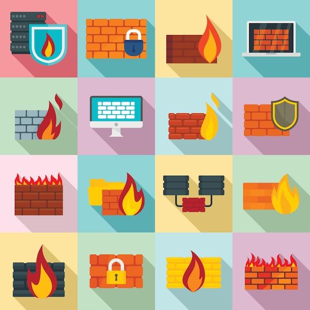 Conjunto de ícones de firewall, estilo simples Vetor Premium