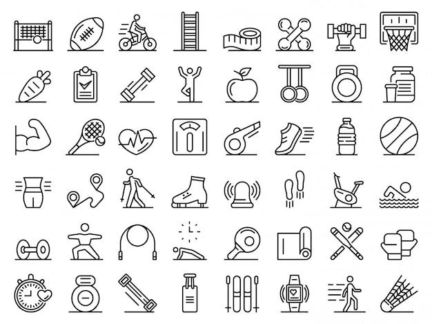 Conjunto de ícones de fitness ao ar livre, estilo de estrutura de tópicos Vetor Premium