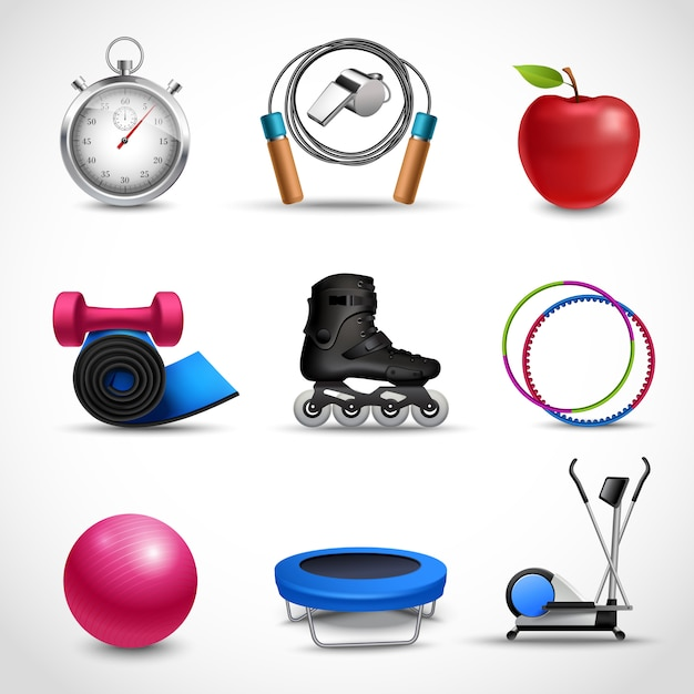 Conjunto de ícones de fitness e esporte Vetor grátis