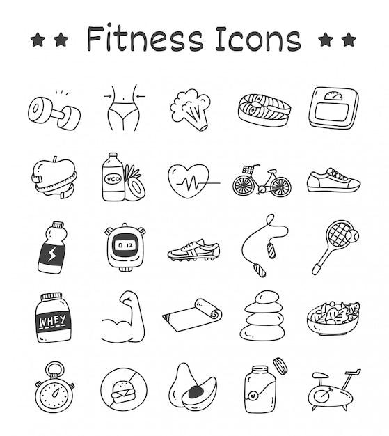 Conjunto de ícones de fitness no estilo doodle Vetor Premium