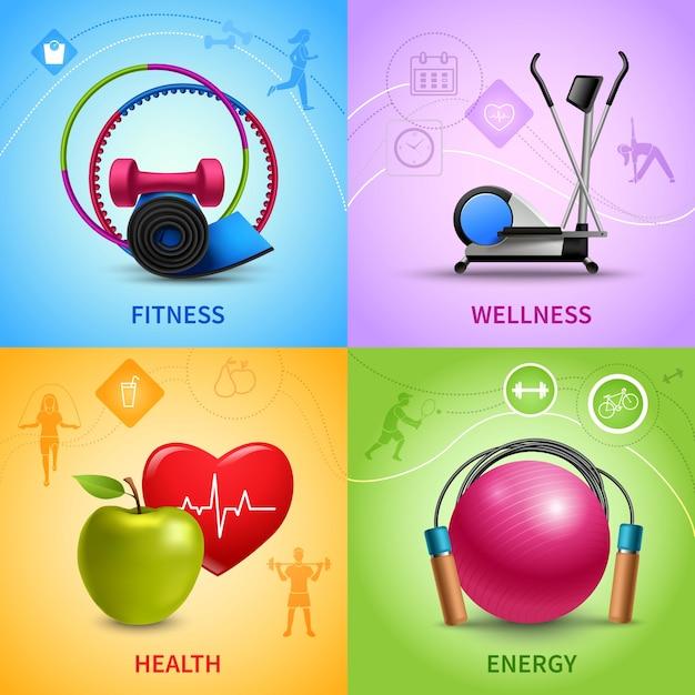Conjunto de ícones de fitness Vetor grátis