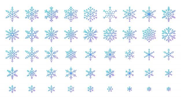 Conjunto de ícones de floco de neve, neve de inverno frio cristal de gelo, estrela de seis pontos de linha gdradient. Vetor Premium