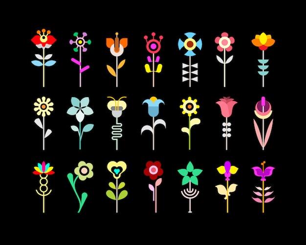 Conjunto de ícones de flores Vetor Premium