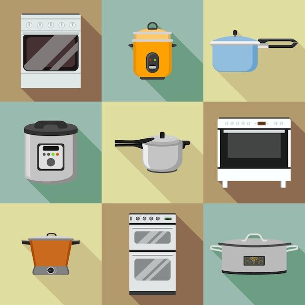 Conjunto de ícones de fogão de cozinha. conjunto plano de ícones de fogão de cozinha para web design Vetor Premium