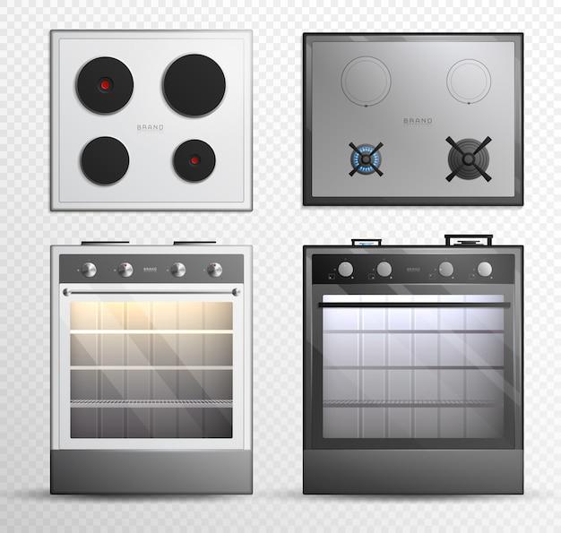 Conjunto de ícones de fogão elétrico de fogão elétrico a gás Vetor grátis