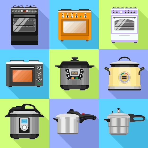 Conjunto de ícones de fogão Vetor Premium