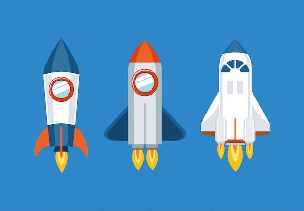 Conjunto de ícones de foguete Vetor grátis