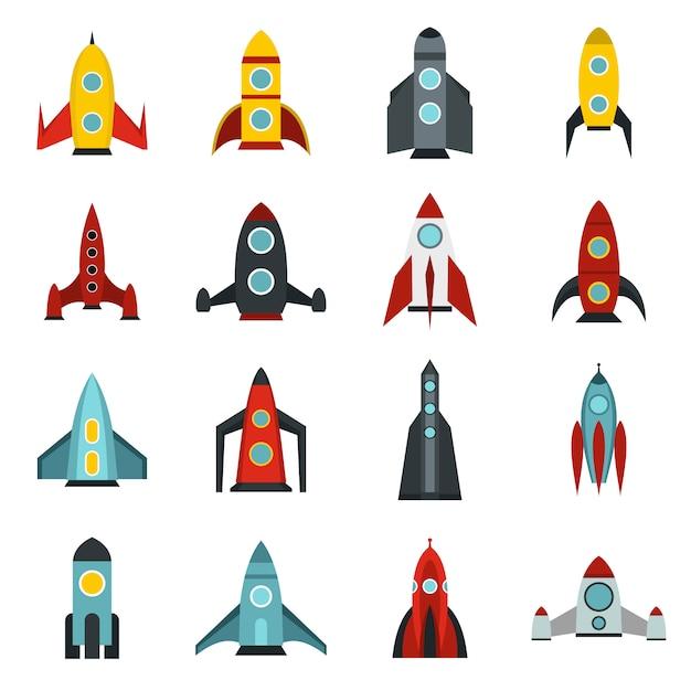 Conjunto de ícones de foguete Vetor Premium