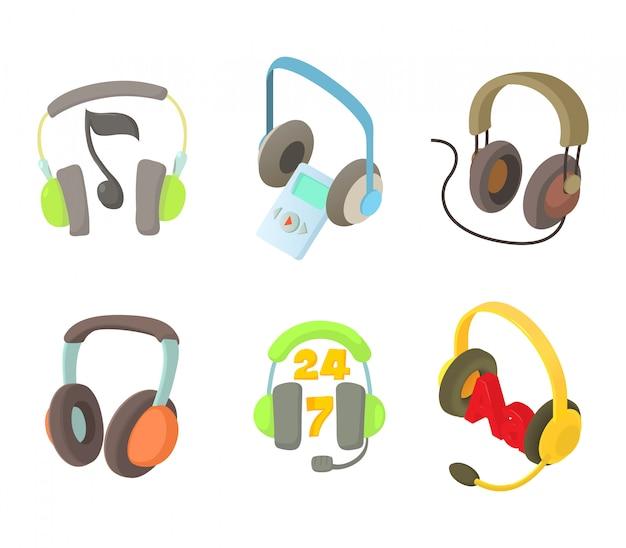 Conjunto de ícones de fone de ouvido Vetor Premium