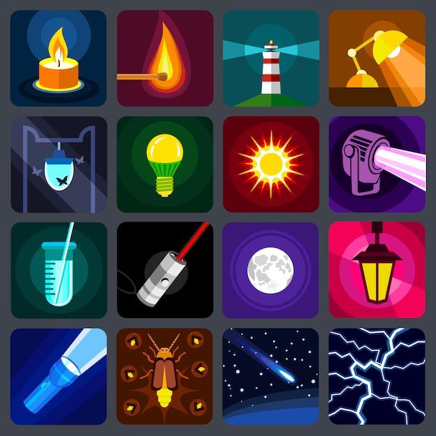 Conjunto de ícones de fonte de luz. Vetor Premium