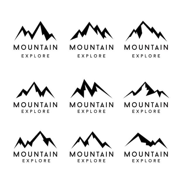 Conjunto de ícones de formas de montanha. montanha Vetor Premium