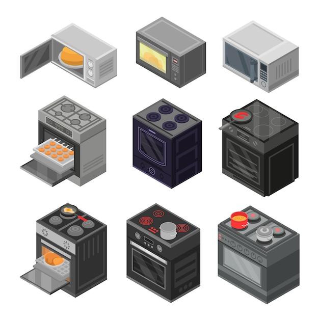 Conjunto de ícones de forno. isométrico conjunto de ícones de vetor de forno para web design isolado no fundo branco Vetor Premium