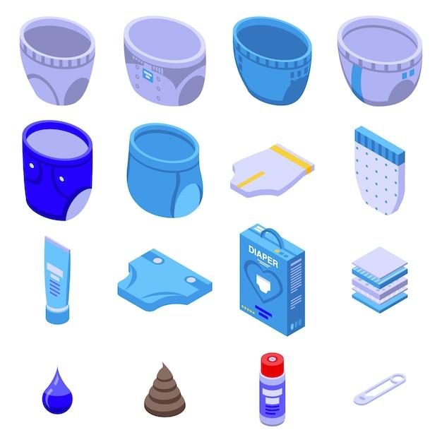 Conjunto de ícones de fralda, estilo isométrico Vetor Premium