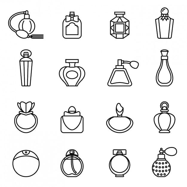 Conjunto de ícones de frasco de perfume. vetor de estoque de estilo de linha fina. Vetor Premium