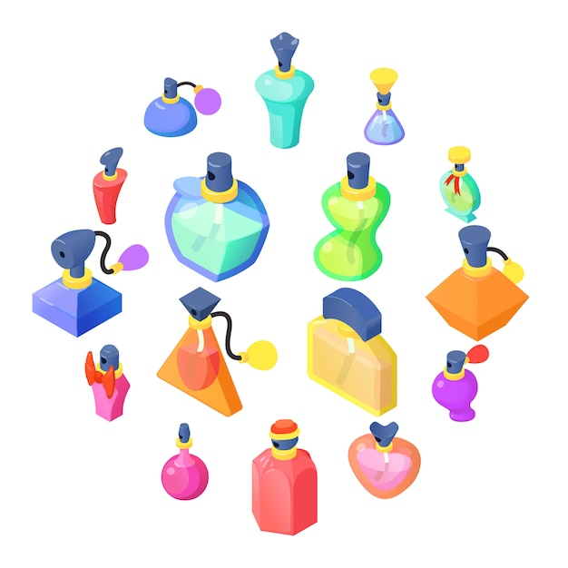 Conjunto de ícones de frascos de perfume, estilo isométrico Vetor Premium