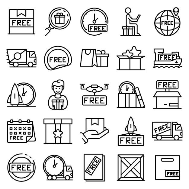 Conjunto de ícones de frete grátis, estilo de estrutura de tópicos Vetor Premium