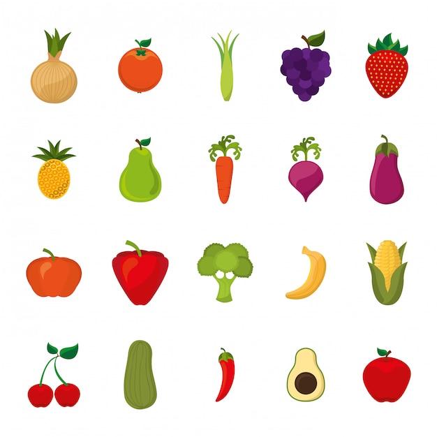 Conjunto de ícones de frutas e legumes isolados Vetor grátis