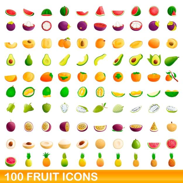 Conjunto de ícones de frutas, estilo cartoon Vetor Premium