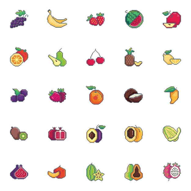 Conjunto de ícones de frutas pixel art Vetor Premium