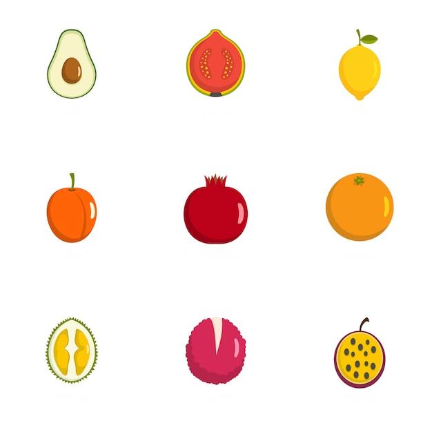 Conjunto de ícones de frutas. plano conjunto de 9 ícones de vetor de fruta Vetor Premium