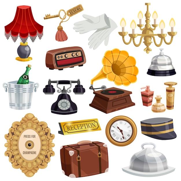Conjunto de ícones de funcionários do hotel vintage Vetor grátis