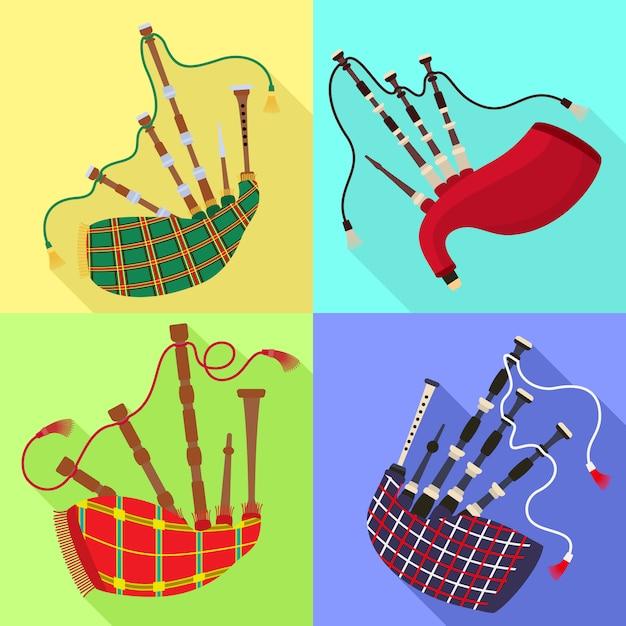 Conjunto de ícones de gaitas de foles. flat set de vetor de gaitas de foles Vetor Premium