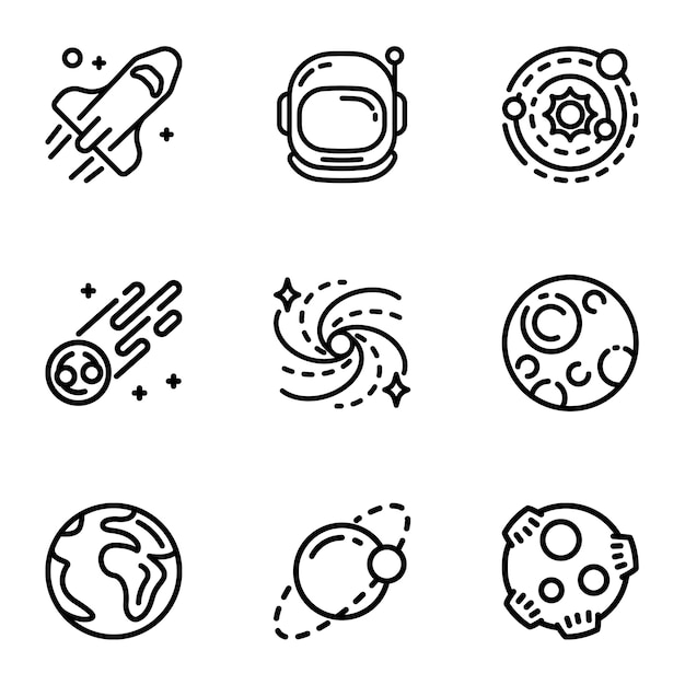 Conjunto de ícones de galáxia espacial. outline set of 9 ícones de galáxia do espaço Vetor Premium