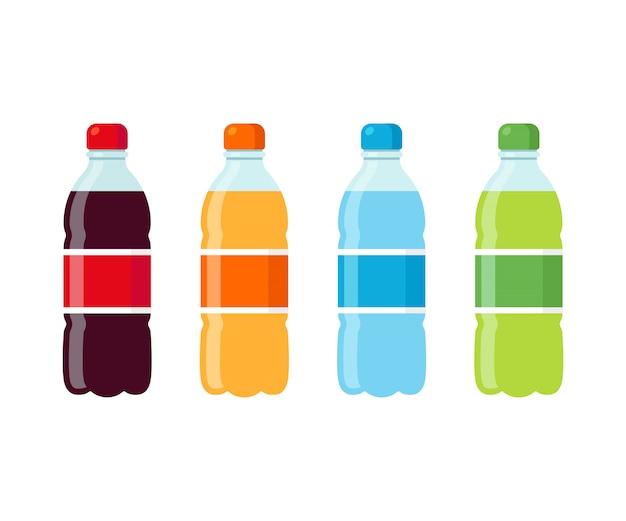 Conjunto de ícones de garrafas de refrigerante Vetor Premium