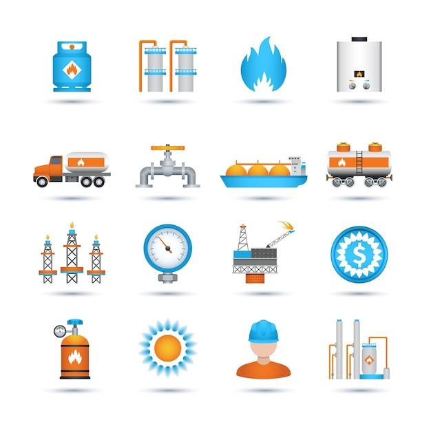 Conjunto de ícones de gás Vetor grátis
