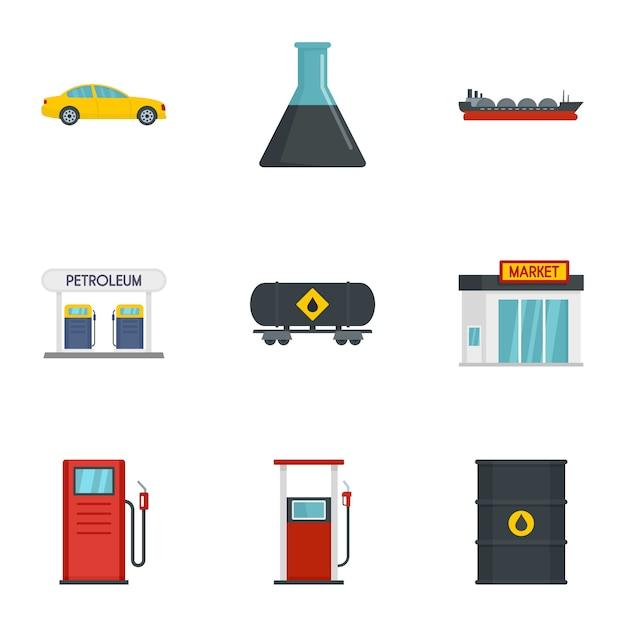 Conjunto de ícones de gasolina de negócios, estilo simples Vetor Premium