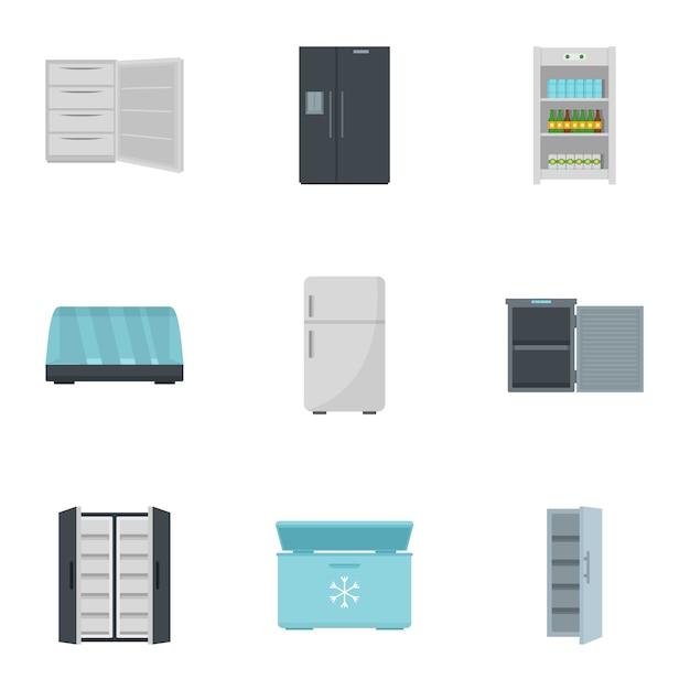 Conjunto de ícones de geladeira. conjunto plano de 9 ícones de vetor de geladeira Vetor Premium