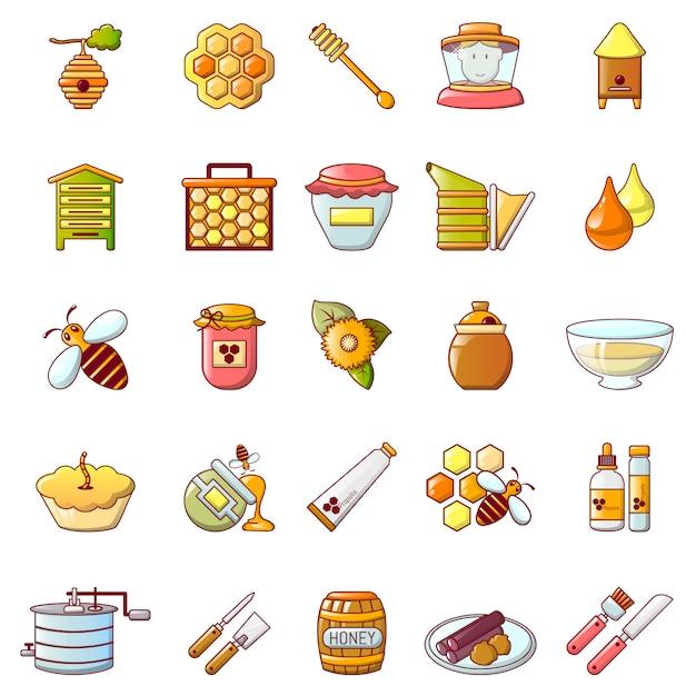 Conjunto de ícones de geléia de mel de própolis Vetor Premium
