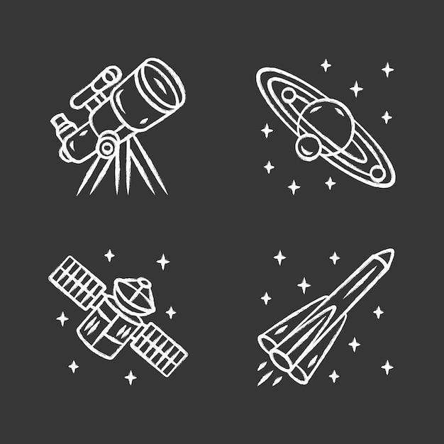 Conjunto de ícones de giz astronomia Vetor Premium