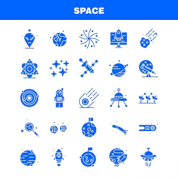 Conjunto de ícones de glifo sólido espaço Vetor grátis