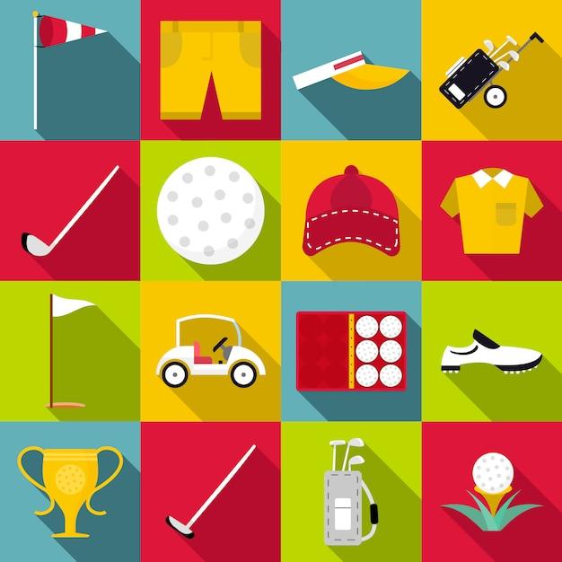 Conjunto de ícones de golfe, estilo simples Vetor Premium