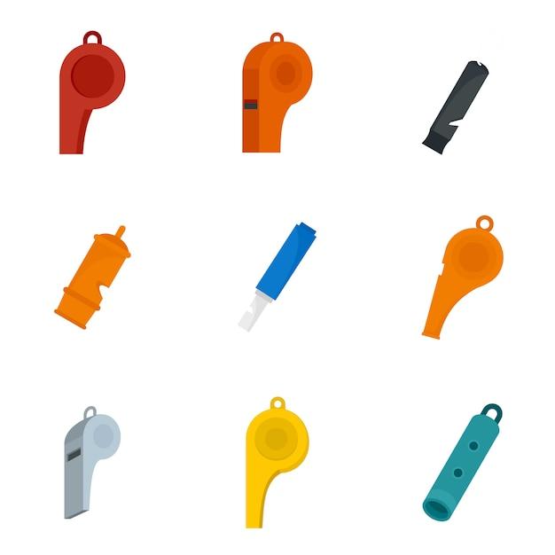 Conjunto de ícones de golpe de treinador de apito Vetor Premium
