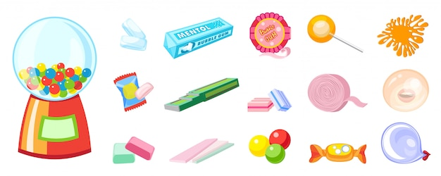 Conjunto de ícones de goma. conjunto de desenhos animados de ícones de goma Vetor Premium