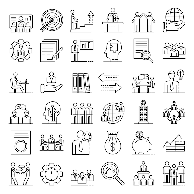Conjunto de ícones de governança corporativa, estilo de estrutura de tópicos Vetor Premium