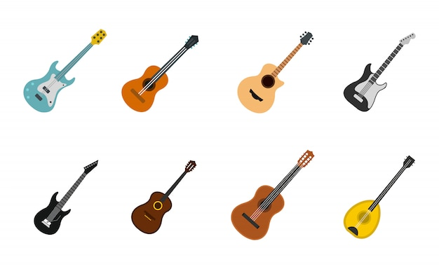 Conjunto de ícones de guitarra. plano conjunto de coleção de ícones de vetor de guitarra isolada Vetor Premium