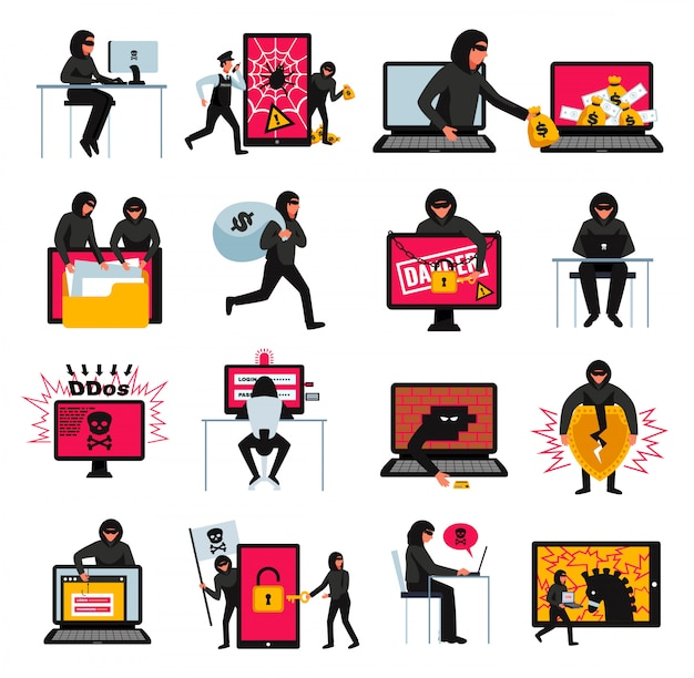 Conjunto de ícones de hacker com ilustração on-line plana de símbolos de ameaças e ataques Vetor grátis