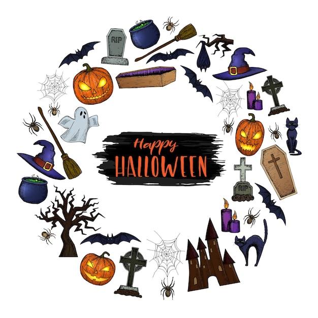 Conjunto de ícones de halloween para decoração. ilustração de esboço colorido assustador de halloween. Vetor Premium