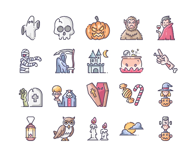 Conjunto de ícones de halloween Vetor Premium