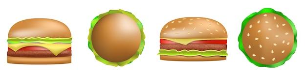 Conjunto de ícones de hambúrguer, estilo realista Vetor Premium