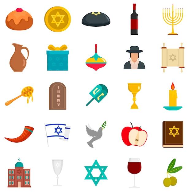 Conjunto de ícones de hanukkah feliz Vetor Premium
