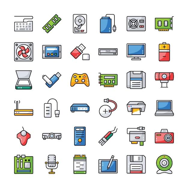 Conjunto de ícones de hardware de computador Vetor Premium
