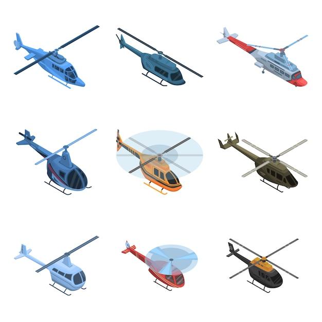 Conjunto de ícones de helicóptero Vetor Premium